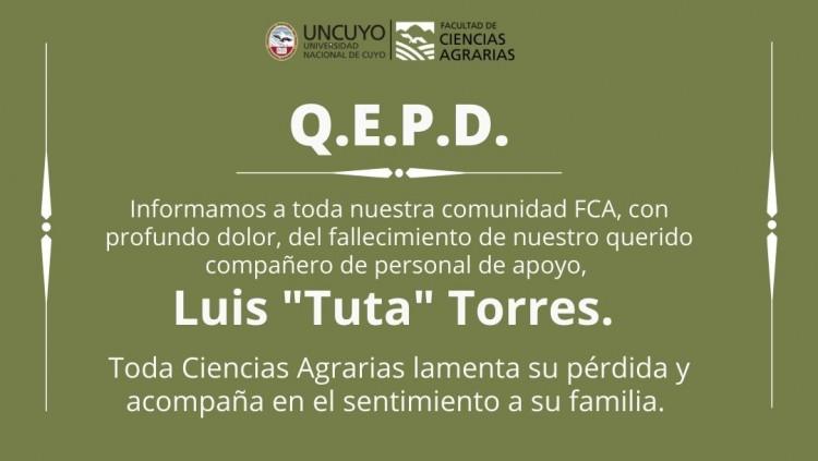 """Fallecimiento de Luis """"Tuta"""" Torres, miembro de nuestra FCA"""