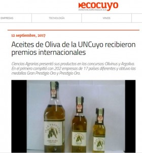 Aceites de Oliva de la UNCuyo recibieron premios internacionales