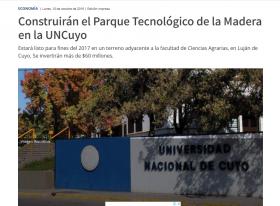 Construirán el Parque Tecnológico de la Madera en la UNCuyo