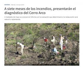 A siete meses de los incendios, presentarán el diagnóstico del Cerro Arco